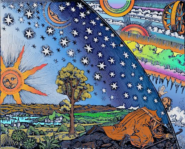 Universe & Man Flammarian woodcut, bright