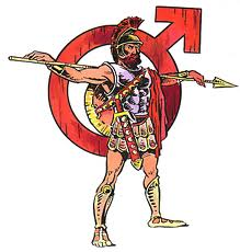 Mars warrior with symbol