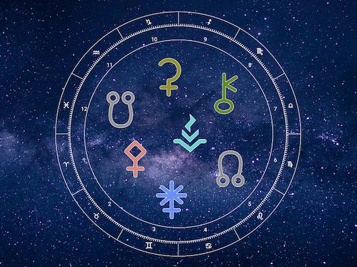 symbols for Ceres, Chiron, Pallas Athene, Vesta, Juno and the Nodes in a zodiac wheel